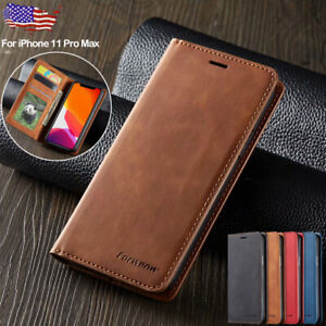 For iPhone 11 Pro Max Case Leather Magnetic Flip Wallet Card Slot Stand Cover US