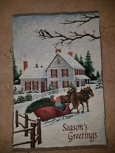 Christmas Seasons Greetings Horse Tapestry Fabric Pieces