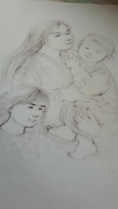 Hibel Stone Lithograph Signed Artist Proof Original Vintage Mother and Children