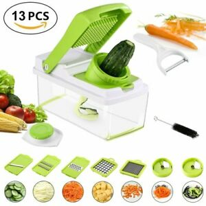 13PC Vegetable Fruit Peeler Multi-Function Chopper Steel Slicer Dicer Grater Set