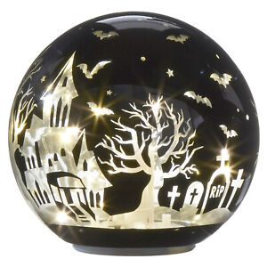 RAZ Imports Halloween Lighted Globe with Haunted House Graveyard and Bats 6 inch