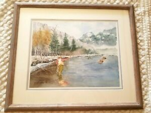 FINE SOUTHWEST WATERCOLOR PAINTING FLY FISHING NM MOUNTAINS ASPEN KEN DAVIE ABQ