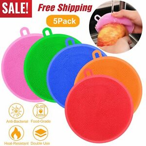 5Pcs Silicone Dish Washing Sponge Scrubber Kitchen Cleaning Antibacterial Safe