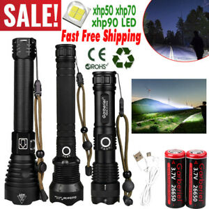 990000LM XHP90 XHP70 XHP50 LED Super Bright USB Rechargeable 18650 Flashlight US