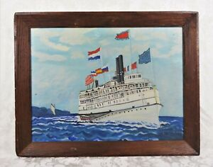 Vintage Mid Century Maritime Oil Painting of Cruise Ship at Sea Ocean Signed
