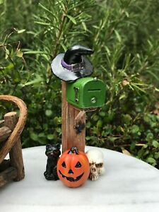 Miniature Dollhouse FAIRY GARDEN ~ Mini Fall HALLOWEEN Mailbox with Witch Hat