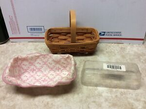 2000 Longaberger Horizon of Hope basket liner protector set Preowned Nice!