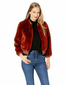 ASTR the label Women's Frankie Faux Fur & Leather Short Bomber Jacket