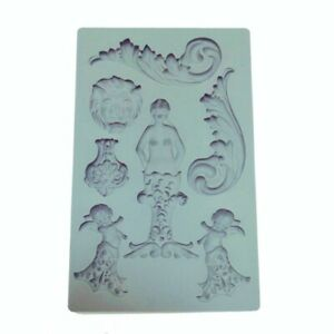 F5044 Embossed Mermaid Fondant Silicone Mold for Clay Polymer Resin Decoration