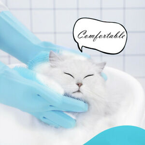 Pair Kitchen Magic Glove Silicone Dish Washing Scrubber Gloves Pet Grooming