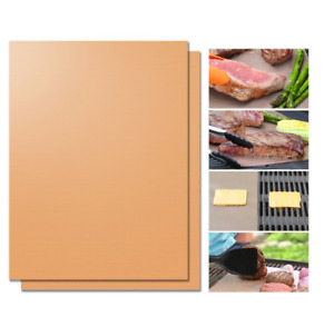 2Pcs Copper Chef Grill and Bake Mats BBQ Pad Tool Camping Hiking Home Outdoor
