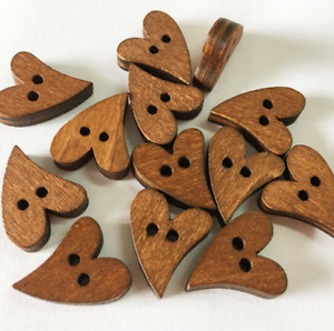 100pcs New Wood Wooden Sewing Lovely Heart Shape Button Craft Scrapbooking Brown $7.80