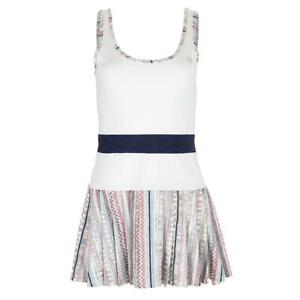 ELEVEN   Women`s Volley Tennis Dress White and Ikat Stripe Print