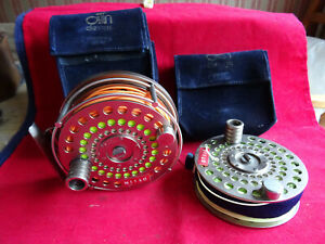 A VERY GOOD ARI T HART S3 208 SALMON FLY REEL AND SPARE SPOOL WITH CASES