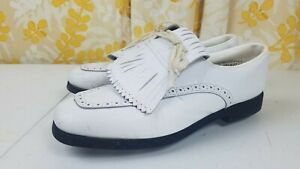Vintage Mens Etonic Mark V by Eaton Golf Shoes Spikes Kiltie White Leather Sz 10