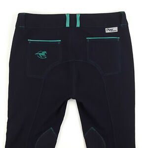 SmartPak Piper Original Low Rise Breeches Knee Patch Womens 38 R Navy Blue Teal