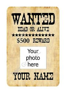 custom name & photo wild west wanted poster style indoor/outdoor aluminum sign