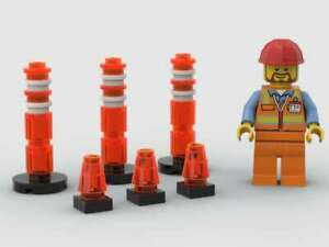 LEGO Street Traffic Lane Road Dividers Cones amp; Caltrans Construction Worker City