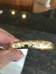 18K SOLID GOLD LADIES CUSTOM OVER 2CT DIAMOND CUFF DESIGN! SIZE 7.5 INCH
