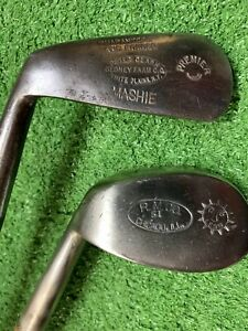 2  Antique Hickory Wood Shaft Left Hand Irons