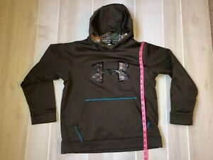 boy's YOUTH UNDER ARMOUR LOOSE  BROWN CAMO  POLYESTER HOODIE SWEATSHIRT SIZE YL