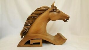 MID CENTURY CARVED WOOD HORSE HEAD STATUE SCULPTURE BUST 15