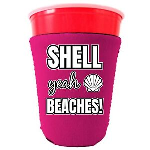 Shell Yeah Beaches Neoprene Collapsible Party Cup Coolie; crab, starfish, ocean