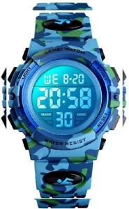 Dodosky Kids Digital WatchBoys Sports Waterproof Led Watches Navy Camouflage