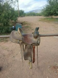 Vintage Used Ranch Roping Rough Out Leather Saddle 15