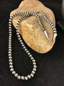 Native American Navajo Pearls 4mm Sterling Silver Bead Necklace 21 Sale $109.80