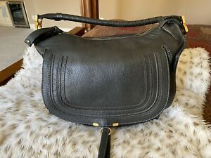 Chloe Marcie Hobo Large Black Pebbled Leather Shoulder Bag