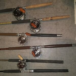PENN SENATOR SPECIAL  MASTER MARINER SALT WATER FISHING ROD & REEL LOT X 5