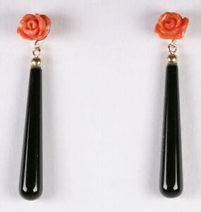 Elegant natural undyed salmon color coral natural onyx earrings in 14k solid YG