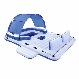 Tropical Inflatable Island Breeze Floating 6-Person Lounge Party Sun Ocean Raft