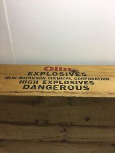 Vintage Olin Mathieson Explosives  Large Wooden Box Crate 29 X 12 12 X 5.