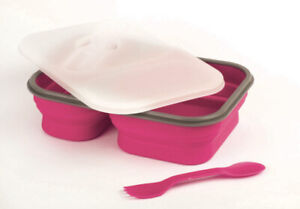 Lunch Kit 2pc Meal Prep Containers Silicone Collapsible amp; Spork Utensil Pink
