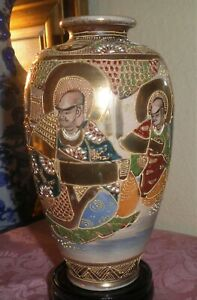 GORGEOUS ANTIQUE JAPANESE MEIJI PERIOD CELESTIAL IMMORTAL SCHOLAR SATSUMA VASE