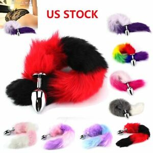 Soft Fox Tail Fur Anal Plug Stainless Steel Insert Metal Funny Love Adult Games