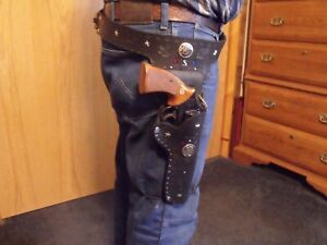 New Handmade Black Leather Western Holster (357 or 38S)(Fits Western style Guns