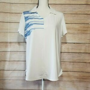 Under Armour women's XL white blue polo loose fit golf shirt cap sleeve v-neck