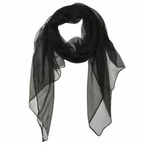Wrapables Solid Color 100% Silk Long Scarf Black $12.99