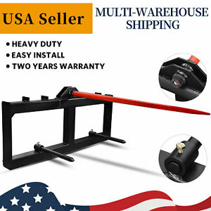 Hay Bale Spear Skid Steer Tractor Loader Quick Tach Attachment Moving Hay Bale $302.99