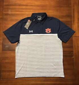 NWT Men's Under Armour Auburn Tigers Playoff Strip Polo Size L Large Navy Blue