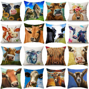 18x18 inch Cow Pillow Case Farm Animal Square Cushion Cover Couch Sofa Bed Decor