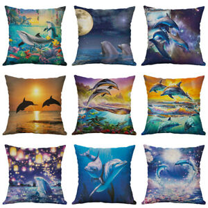 18'' New Dolphin Pillow Case Pillow Cover Sofa Waist Cushion Covers Home Decor
