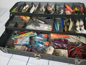 Vintage My Buddy Metal Fishing Tackle Box filled with antique lures and plastics