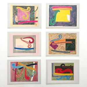 FRANK STELLA RARE VTG 1977 TYLER GRAPHICS PREVIEW LITHOGRAPH PRINTS - SET OF 6