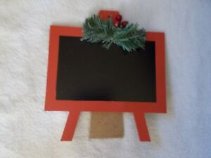 NEW CHRISTMAS 7 X 8 IN. MINI CHALKBOARD RED FRAME WITH BERRIES & CRAYOLA CHALK