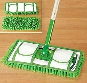 X2 Reusable Chenille Microfiber Mop Pads Super Absorbent, Cleaning Pad Set of 2
