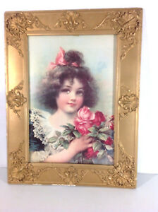 Vtg VICTORIAN GIRL Painted Pink Roses STONE LITHOGRAPH PRINT 1880-1910 Ant Frame